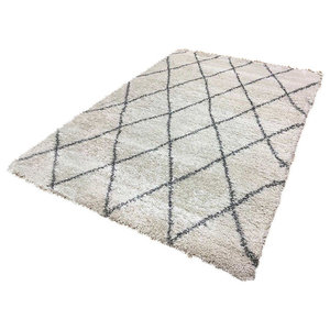 Logan LG07 Rug, Diamond Ivory and Grey, 200x290 cm