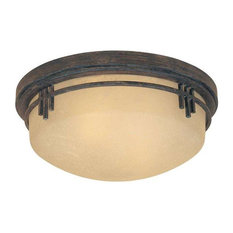 Warm Mahogany Asian Two Light Flush Mount Ceiling Fixture
