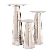 Hammered Nickel Pillar Candleholders, Hammered Nickel, Set of 3