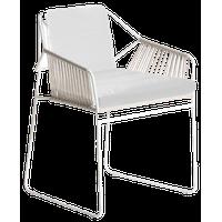 OASIQ SANDUR Armchair Woven, Clay Rope, Canvas Natural Cushions, White Frame