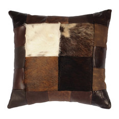 Patch Leather Hair on Hide Pillow, 16x16 with Fabric Back