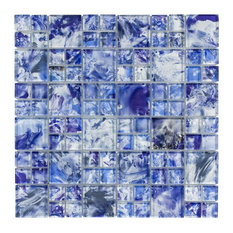 MTO0113 Modern Modular Blue White Glossy Translucent Glass Mosaic Tile