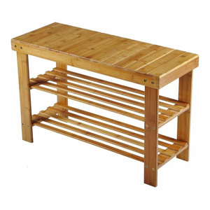 Traditional Shoe Storage Rack, Natural Bamboo Wood With 2-Tier Slatted Design