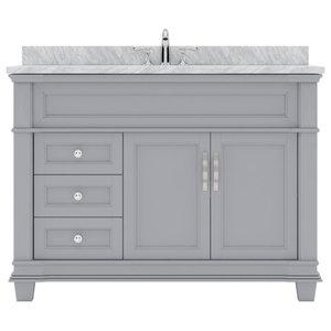 Victoria 48 Single Bathroom Vanity Set In Gray Traditional Bathroom Vanities And Sink Consoles By Virtu Usa Houzz