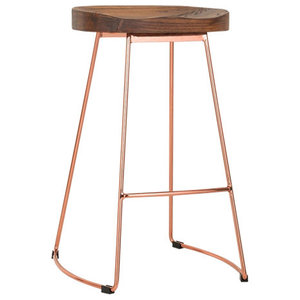 Stockholm Stool, Wood Top, Metal Base, Brass Gold, 65 cm