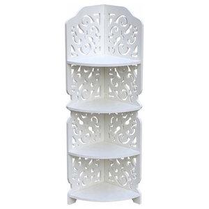 Traditional Corner Display Unit, White Wood Plastic Composite, Carved Design