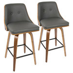 LumiSource - Gianna Counter Stool, Set of 2, Walnut Wood/Light Gray Pu/Black Metal - Inviting and refined with a hint of heritage design, the Gianna Counter Stool by LumiSource will add a touch of class to any space. The Gianna features a contoured wooden back, bentwood tapered legs, and dual-tufted faux leather seat.