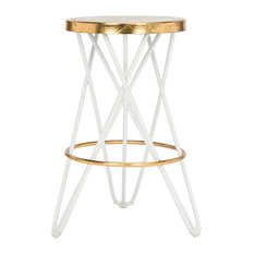 Lorna Gold Leaf Counterstool, White/Gold
