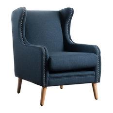 Rosella High Wingback Fabric Club Chair, Navy Blue