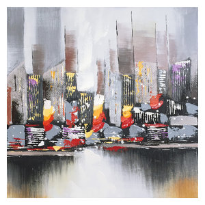 Hand Painted Abstract City View Wall Decor Artwork I