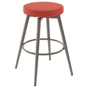 Fine Chintaly Counter Stool Brushed Stainless Steel And Red Machost Co Dining Chair Design Ideas Machostcouk