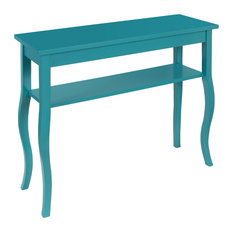 Superieur Uniek   Kate And Laurel Lillian Wood Console Table, Curved Legs And Shelf,  Teal