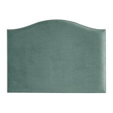 Lino Velvet Headboard for Double Bed, Light Blue, Bronze Tacks