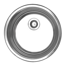 Noah's Collection Brushed Stainless Steel Round Drop-In Entertainment/Prep Sink