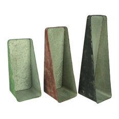 Distressed Red Green and Grey Vertical Wall Mounted Planters Set of 3