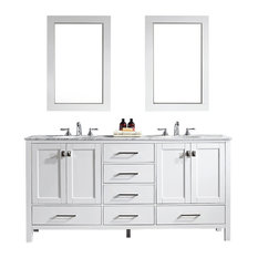 "Gela Single Vanity, White, 72"", With Mirror"