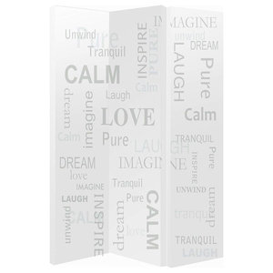 Modern Folding Room Divider Screen in Polyester with Words Print Design, 3 Panel