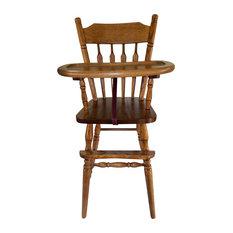 Beau Amish Slide Tray Child Arrow Back High Chair Oak Solid Hardwood Handmade,  Coffee