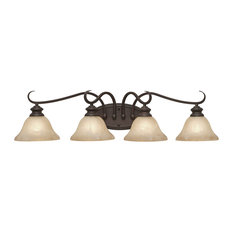 Lancaster 4-Light Bath Vanity, Rubbed Bronze With Antique Marbled Glass
