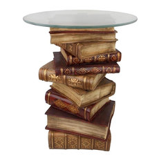 Design Toscano - Power of Books Sculptural Glass-Topped Side Table - Side Tables and End Tables