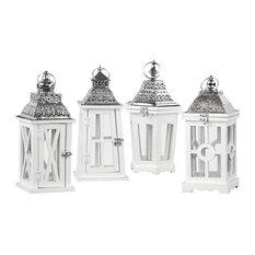 Wood Square Lanterns Metal Top and Glass Windows, White, 4-Piece Set