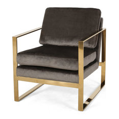 Henry Modern Glam Arm Chair With Velvet Cushions