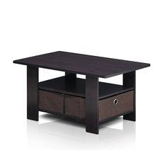 Dark Walnut Coffee Table Bin Drawer