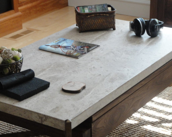 Travertine Coffee Table With Undermount Storage  Built In Pop Up - Travertine coffee table