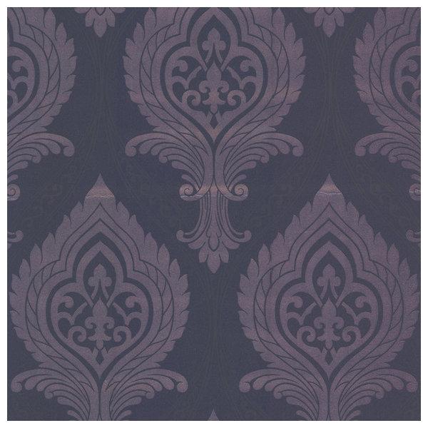 Acasta Purple Damask Wallpaper Swatch