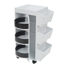Studio Designs - Swivel Organizer Cart, White and Black - Storage Cabinets