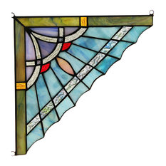 "CHLOE Lighting OBSIDIAN Mission Tiffany-glass Window Panel 10"""