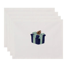 """Gift Wrapped 18""""x14"""" Navy Blue Holiday Print Placemat, Set of 4"""
