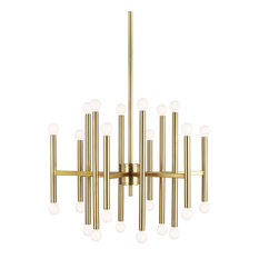 Beckham Modern 24-Light Multi Tier Chandelier in Burnished Brass
