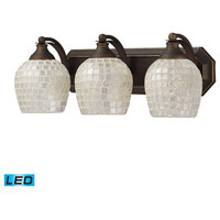 ELK Lighting Bath and Spa 3 Light LED Vanity, Aged Bronze and Silver Glass