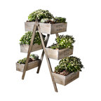 Flowers and Plants Foldable Wooden Plant Stand, 6 Seed Boxes