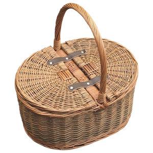 2-Tone Oval Picnic 2-Lid Empty Picnic Basket