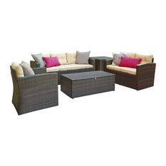 Rio 5-Piece Dark Brown Wicker Conversation Set With Storage and Cushions