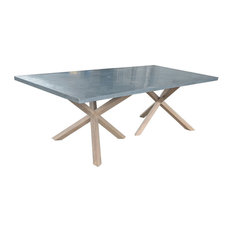 Syracuse Dining Table With Zinc Top and Oak Legs