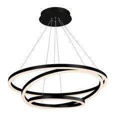 Tania Trio Circular LED Chandelier, Black