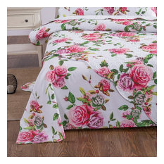 DaDa Bedding Romantic Roses Flat Sheet Only - Lovely Spring Pink Floral Garden ,