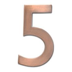 "5"" Floating House Number Antique Copper, ""5"""