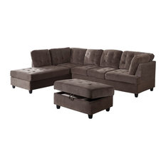 Corduroy L Shape Sectional Sofa with Ottoman, Espresso, Left Hand Facing Chaise