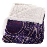 Lavish Home - Printed Coral Fleece Sherpa Throw Blanket, Purple - The contemporary design of this Fleece/Sherpa throw provides a distinctive, stylish look while providing comfort and warmth. 100% polyester makes for easy care and long lasting use at home or on the go.