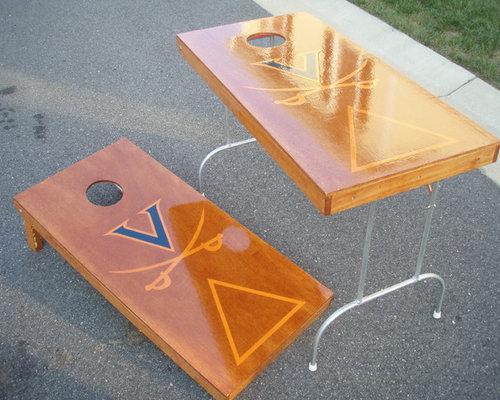 Folding Wood Beer Pong Cornhole Tailgate Table