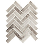 "Emser Tile - Echo Gray 11""x13"" Glass Mosaic Tile, Set of 14 - Echo portrays a dynamic union of shape,pattern,and sustainability. Hexagon and herringbone mosaic tilesarecrafted entirely of recycled white, gray, and brown glass.Finished with high-definition inkjets of wood grain and Calacattamarble patterns, the glass mosaic series is ideal for kitchen and bath surfaces."