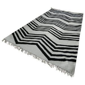 Jeff Banks Kilim Zig Zag Rug, White and Black, 160x230 cm