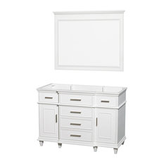 "Wyndham Collection 48"" Berkeley White Single Vanity, No Countertop, No Sink"