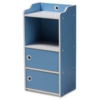 Children's 2-Door Bookcase, Blue and White Finish