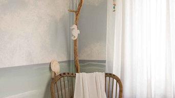 Rotan rocking chair, driftwood and dip dye curtains