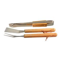 Natico - 3-Piece BBQ Tool Set, Wood - Grill Tools & Accessories